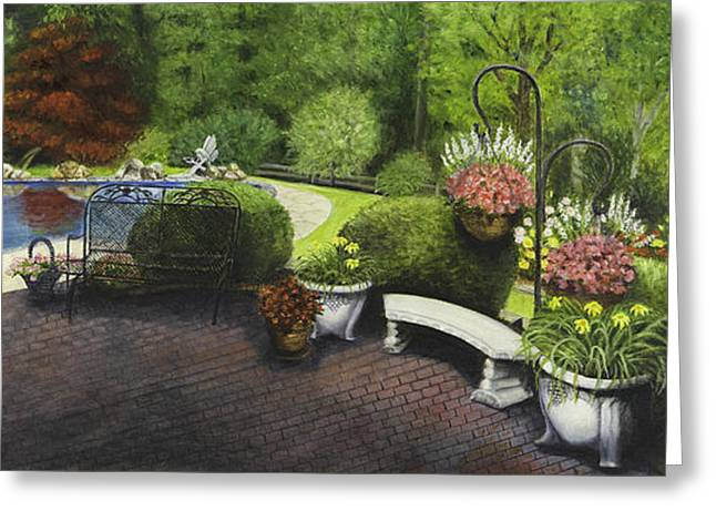 Hanging Planter Greeting Cards - Pool and Gardens Greeting Card by Gail Darnell