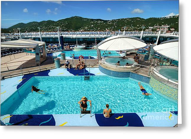 Lounge Chairs Greeting Cards - Pool Deck Adventure of the Seas Greeting Card by Amy Cicconi