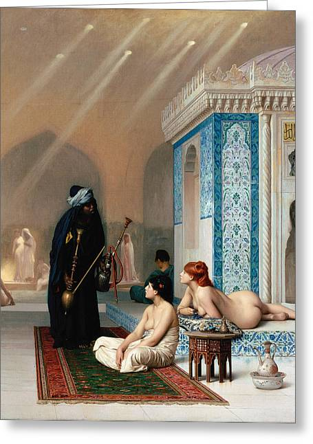 Gerome Greeting Cards - Pool in a Harem Greeting Card by Jean-Leon Gerome