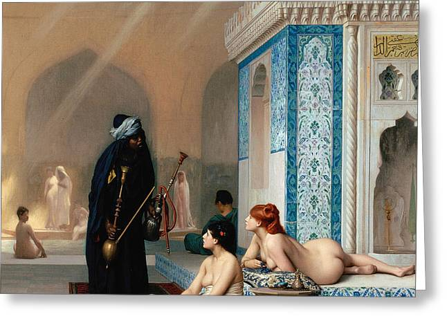 Pool In A Harem Greeting Card by Jean-Leon Gerome