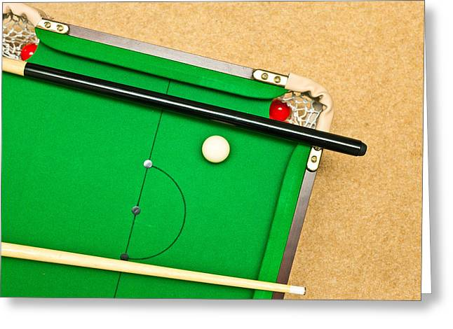 Mini Photographs Greeting Cards - Pool Table Greeting Card by Tom Gowanlock