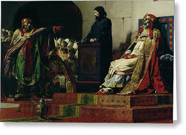 Macabre Greeting Cards - Pope Formosus and Pope Stephen VI Greeting Card by Jean Paul Laurens