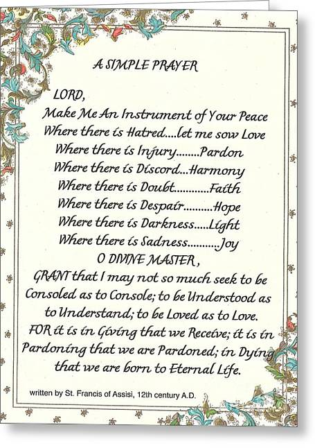 St. Francis Mixed Media Greeting Cards - Pope Francis St. Francis SIMPLE PRAYER for PEACE Greeting Card by Desiderata Gallery