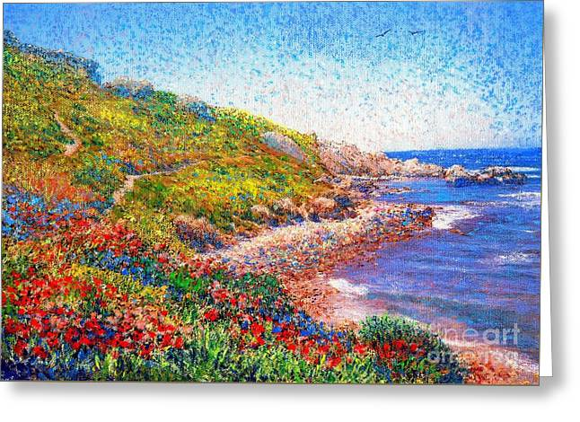 Ocean Shore Paintings Greeting Cards - Enchanted by Poppies Greeting Card by Jane Small