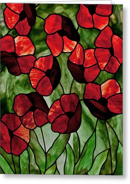 Art Nouveau Glass Art Greeting Cards - Poppies Greeting Card by David Kennedy