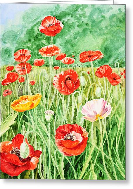 Pink Poppies Greeting Cards - Poppies Greeting Card by Irina Sztukowski
