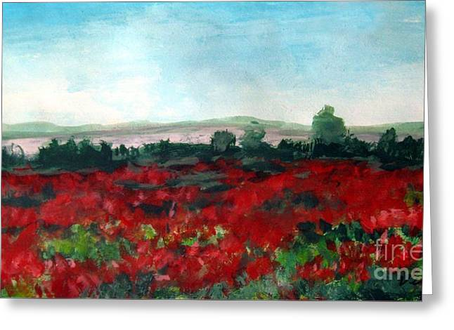Interior Still Life Mixed Media Greeting Cards - Poppies Greeting Card by Venus