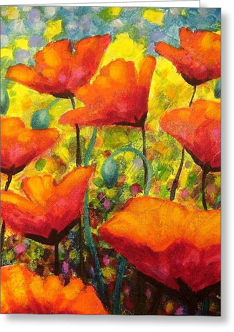 Flowers Posters Greeting Cards - Poppy Corner Greeting Card by John  Nolan
