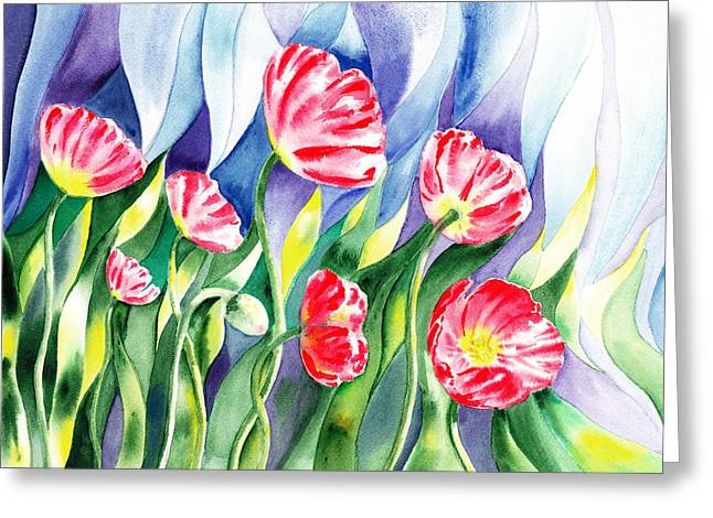 Landscape. Scenic Paintings Greeting Cards - Poppy Field Greeting Card by Irina Sztukowski