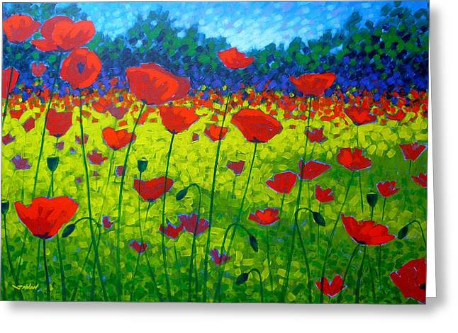 Texture Floral Greeting Cards - Poppy Field Greeting Card by John  Nolan