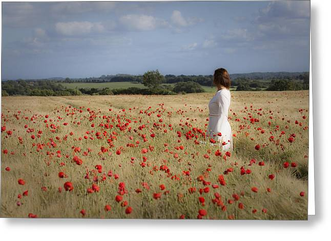 Pensive Greeting Cards - Poppy Field Greeting Card by Maria Heyens