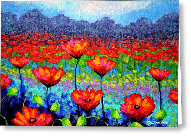 Movement Greeting Cards - Poppy Vista Greeting Card by John  Nolan