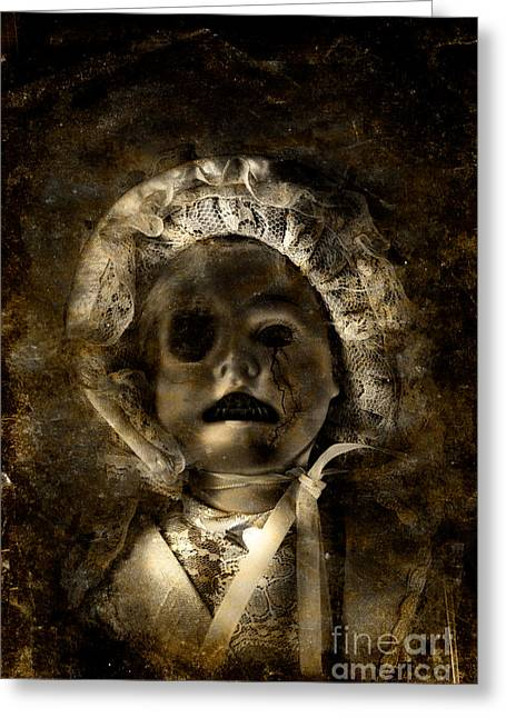 Porcelain Doll Crying Tears Of Cracks Greeting Card by Jorgo Photography - Wall Art Gallery