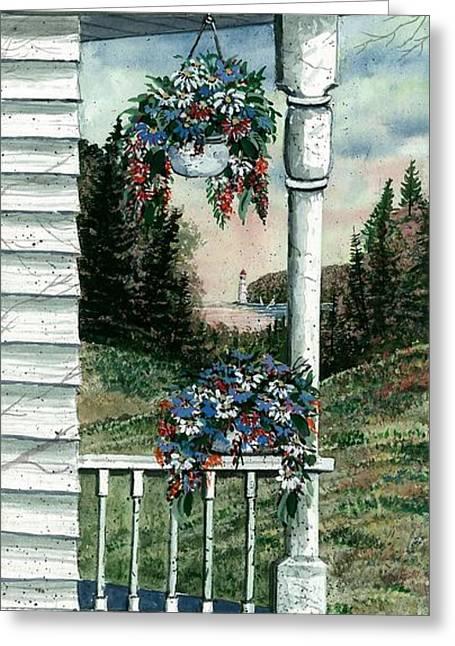 Award Winning Art Greeting Cards - Porch Pots Greeting Card by Steven Schultz