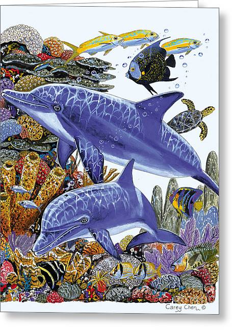 Hawksbill Turtle Greeting Cards - Porpoise Reef Greeting Card by Carey Chen