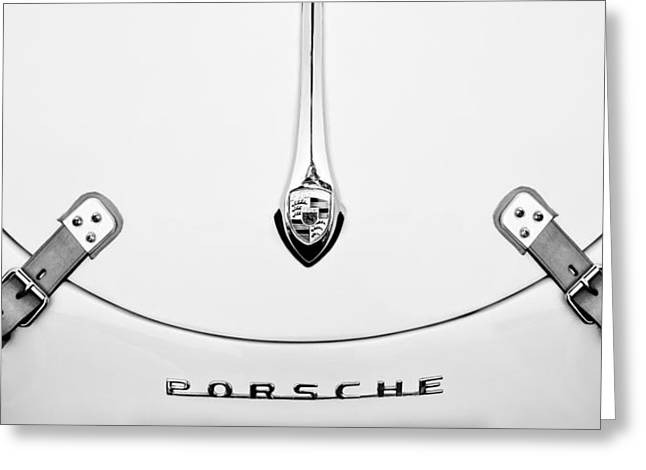 White Photographs Greeting Cards - Porsche 1600 Hood Emblem Greeting Card by Jill Reger