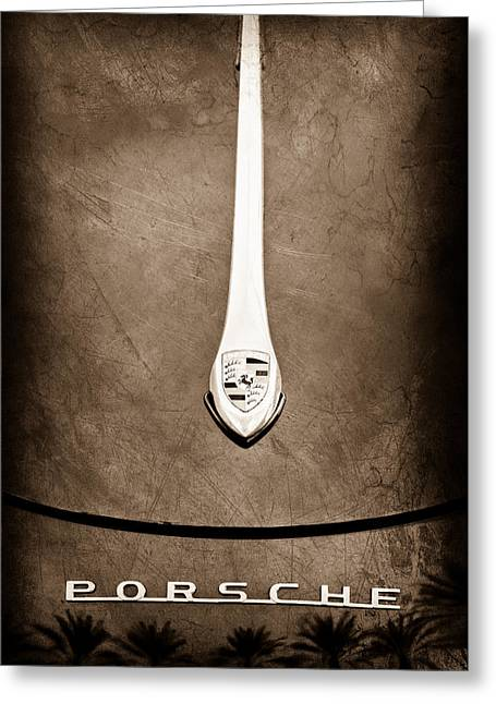 Car Photography Greeting Cards - Porsche 1600 Super Hood Emblem Greeting Card by Jill Reger