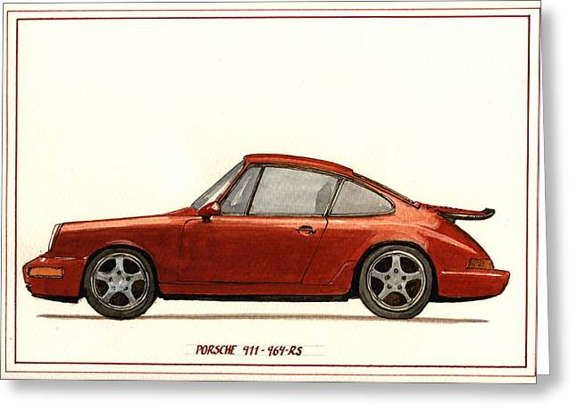 Watercolor Paper Greeting Cards - Porsche 911 964 RS Greeting Card by Juan  Bosco