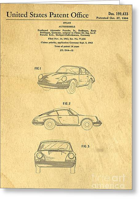 Invention Photographs Greeting Cards - Porsche 911 Carrera 1964 Patent Art  Greeting Card by Edward Fielding