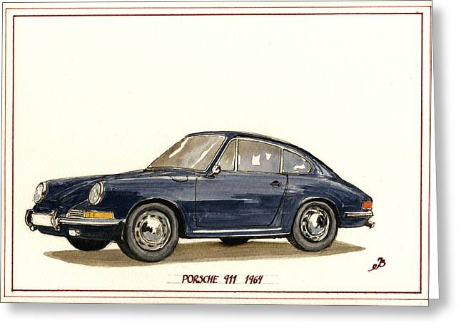 1969 Greeting Cards - Porsche 911 classic Greeting Card by Juan  Bosco