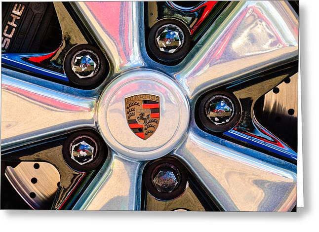 Car Photographers Greeting Cards - Porsche Wheel Rim Emblem Greeting Card by Jill Reger