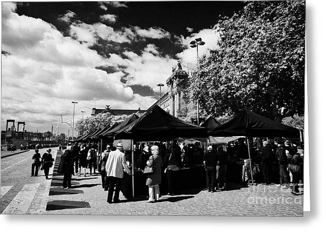 Antic Greeting Cards - Port Antic Antiques Market On A Sunday Morning In Barcelona Catalonia Spain Greeting Card by Joe Fox