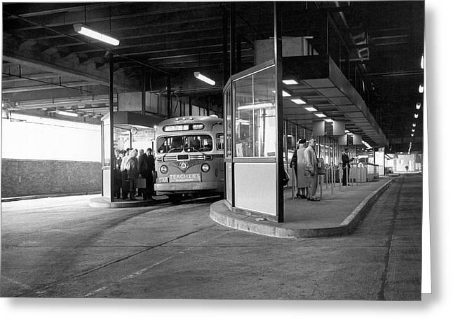 Port Authority Bus Terminal Greeting Card by Underwood Archives