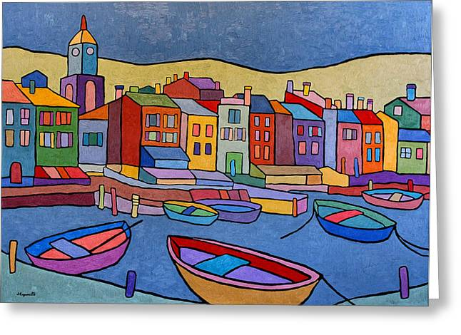 Balance In Life Paintings Greeting Cards - Port in Spain Greeting Card by Joe Esposito