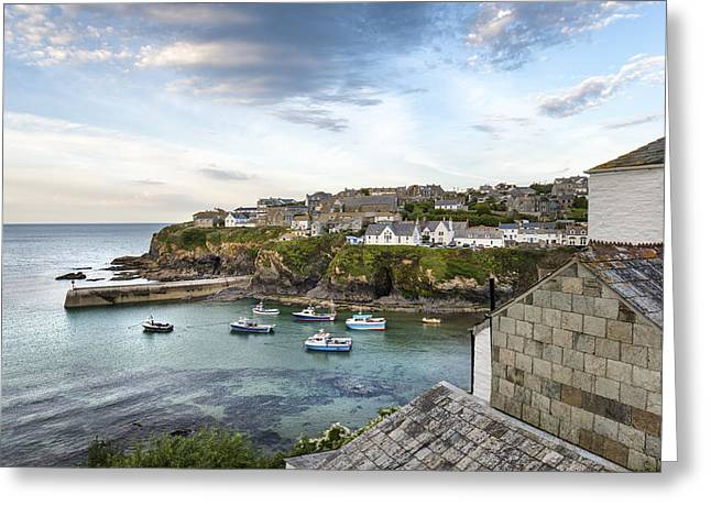 Sea View Greeting Cards - Port Isaac in Cornwall Greeting Card by Helen Hotson
