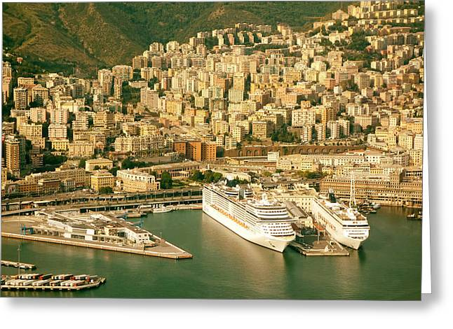 Boat Cruise Greeting Cards - Port of Genoa Italy Greeting Card by Mountain Dreams