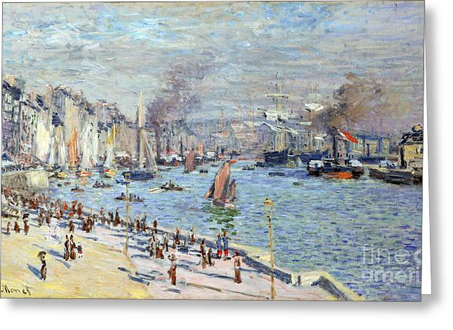 Vintage Painter Greeting Cards - Port of Le Havre Greeting Card by Claude Monet