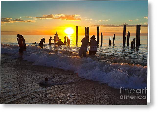 Ruin Photographs Greeting Cards - Port Willunga Jetty Ruins Greeting Card by Bill  Robinson