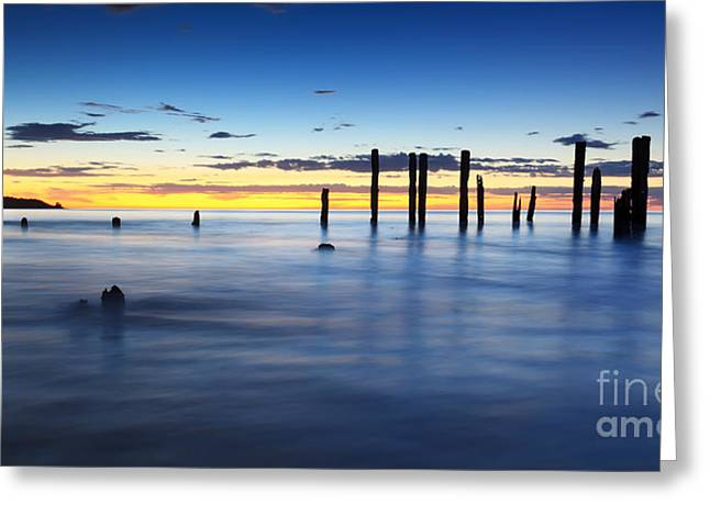 Ruin Photographs Greeting Cards - Port Willunga Jetty Ruins Sunset Greeting Card by Bill  Robinson