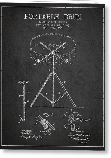 Drummers Digital Art Greeting Cards - Portable Drum patent Drawing from 1903 - Dark Greeting Card by Aged Pixel