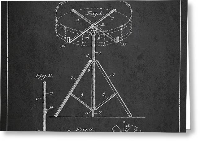 Portable Drum patent Drawing from 1903 - Dark Greeting Card by Aged Pixel