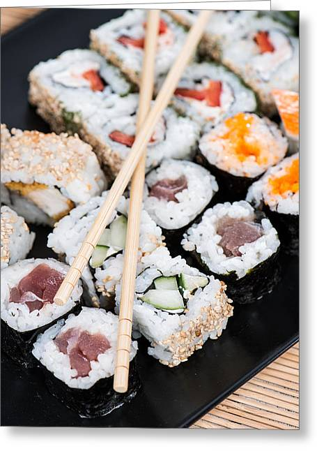 Healthy Greeting Cards - Portion of Sushi Greeting Card by Handmade Pictures