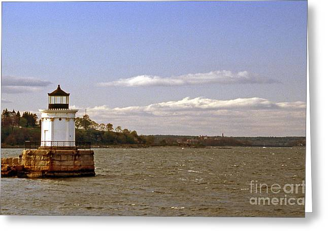 Maine Beach Greeting Cards - Portland Breakwater Lighthouse Greeting Card by Skip Willits