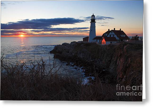 Portland Head Light Greeting Cards - Portland Head Light at Dawn Greeting Card by Diane Diederich