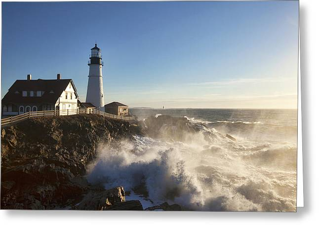 Maine Shore Greeting Cards - Portland Head Light Greeting Card by Eric Gendron