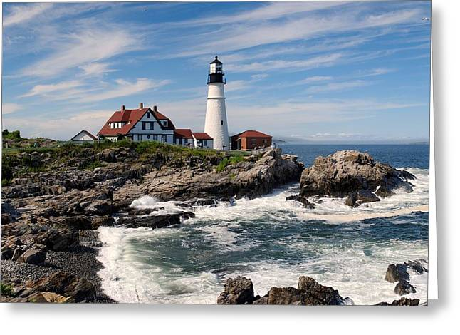 Guiding Light Greeting Cards - Portland Head Lighthouse Greeting Card by Nomad Art And  Design