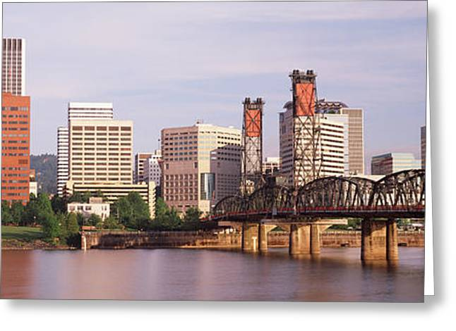 Green Boat Greeting Cards - Portland, Oregon, Usa Greeting Card by Panoramic Images