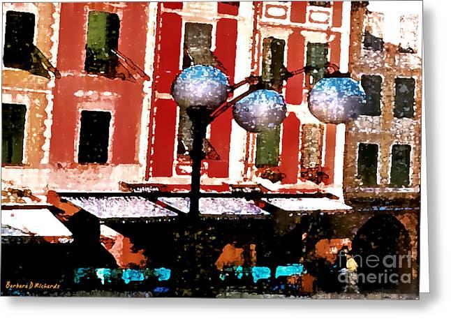 Portofino Italy Digital Greeting Cards - Portofino Cafe Greeting Card by Barbara D Richards