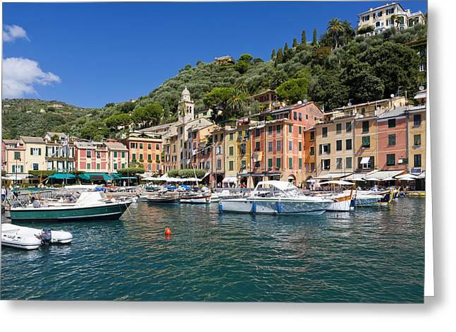 Portofino Italy Greeting Cards - Portofino Harbour Greeting Card by Sebastian Wasek
