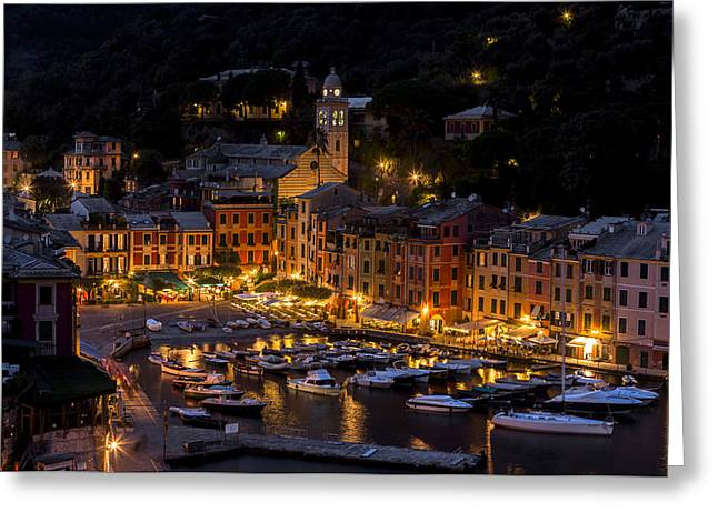 Night Scenes Greeting Cards - Portofino Italy - Hi Res Greeting Card by Carl Amoth