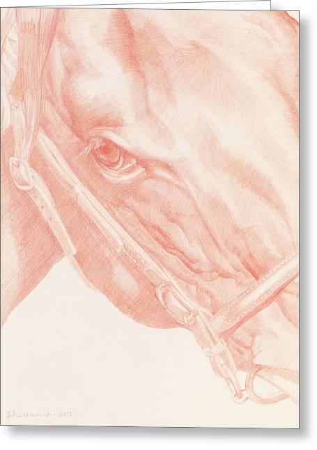 Leather Drawings Greeting Cards - Portrait Head Greeting Card by Emma Kennaway