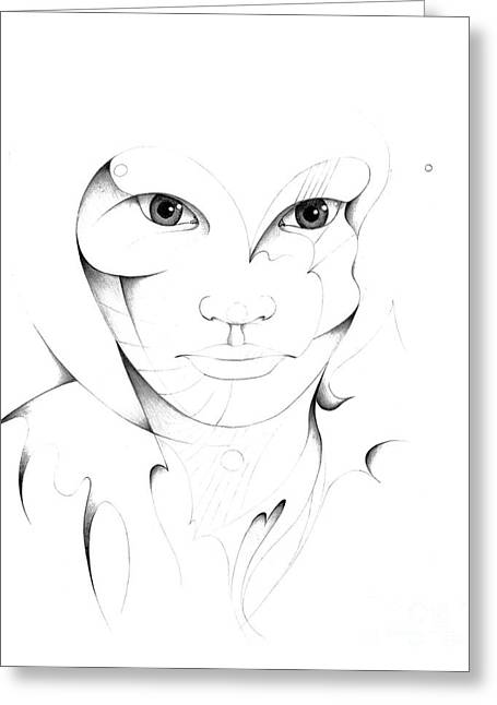 Grayscale Drawings Greeting Cards - Portrait Greeting Card by Nicholas Burningham