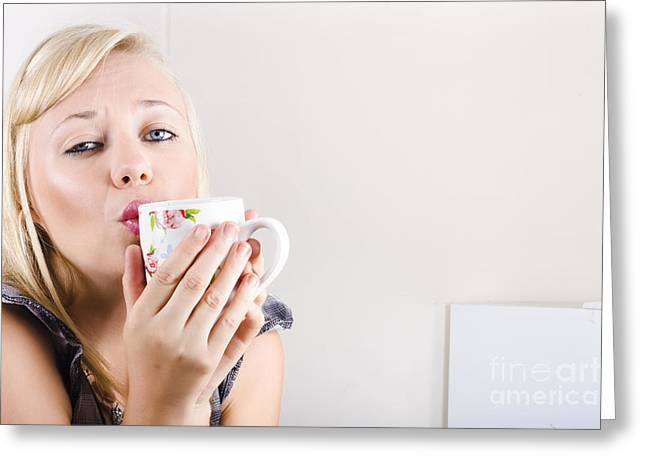 Coffee Drinking Greeting Cards - Portrait of a female drinking coffee in kitchen Greeting Card by Ryan Jorgensen