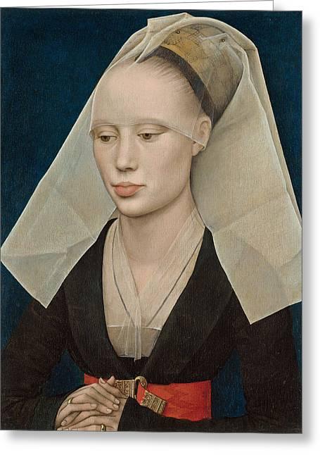 Rogier Van Der Weyden Greeting Cards - Portrait of a Lady Greeting Card by Rogier van der Weyden