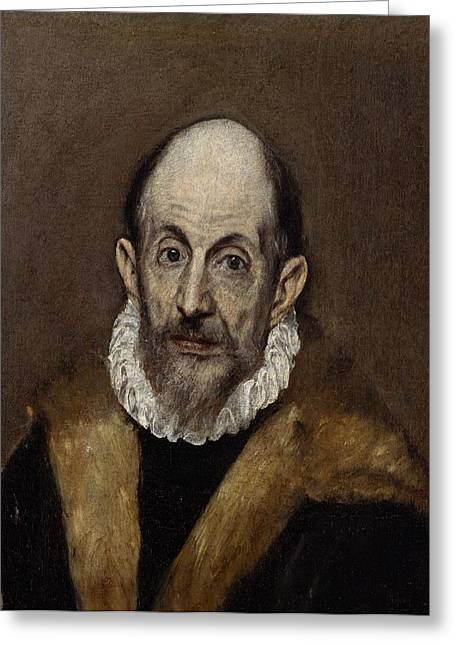 Bravery Greeting Cards - Portrait of a Man Greeting Card by El Greco