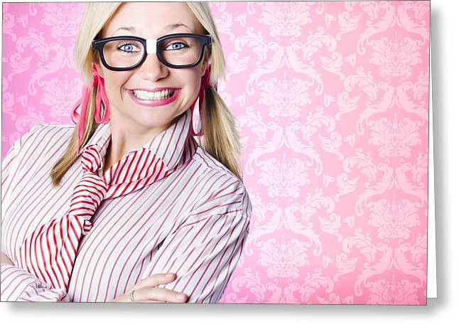 Enthusiastic Greeting Cards - Portrait of a nerd businesswoman with funny smile Greeting Card by Ryan Jorgensen